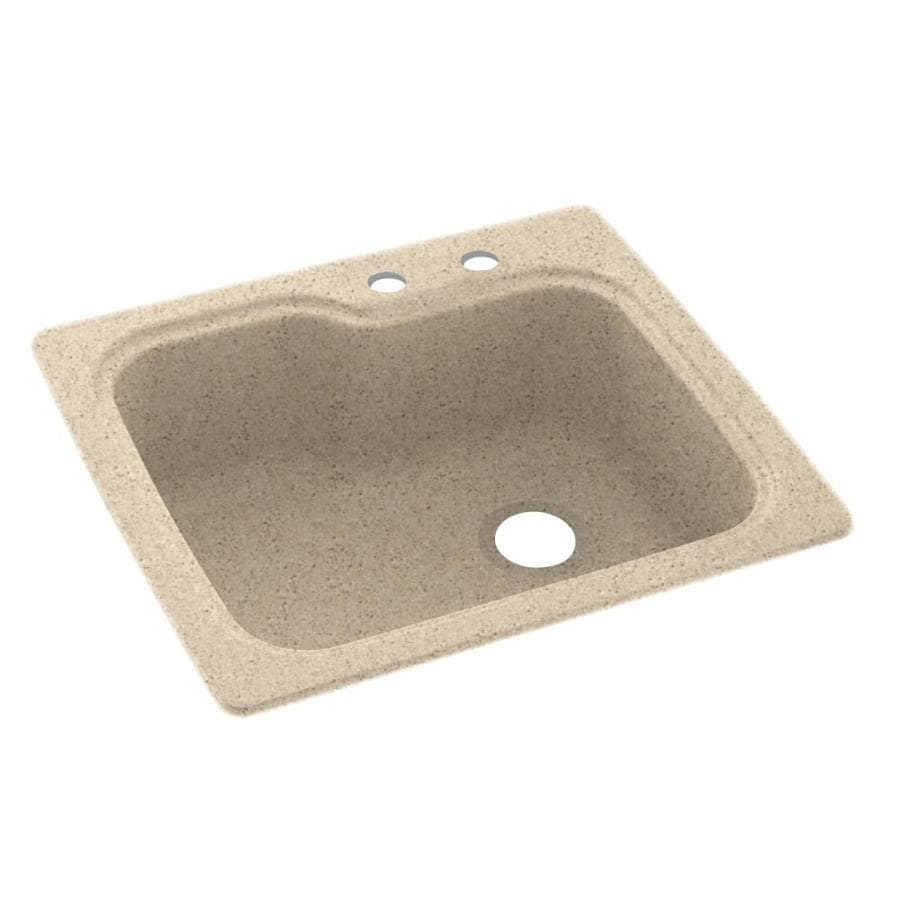 Swanstone 25-in x 22-in Bermuda Sand Single-Basin Composite Drop-In 2-Hole Residential Kitchen Sink