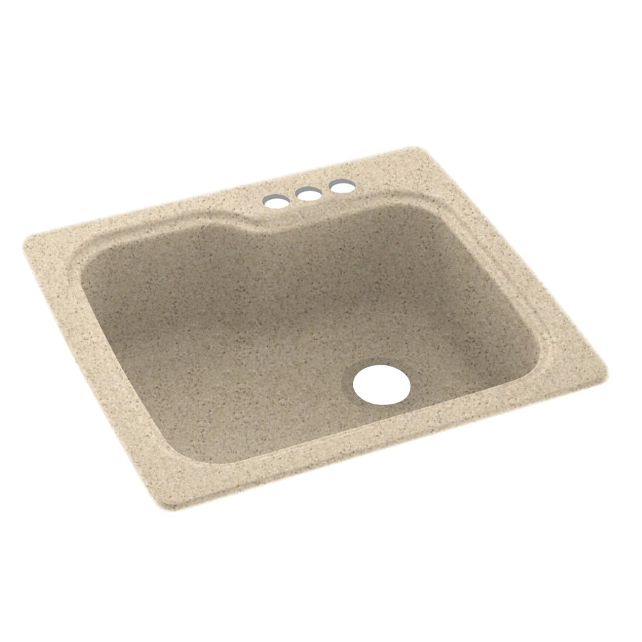 Swanstone 25.0000-in x 22.0000-in Bermuda Sand Single-Basin Composite Drop-in 3-Hole Residential Kitchen Sink
