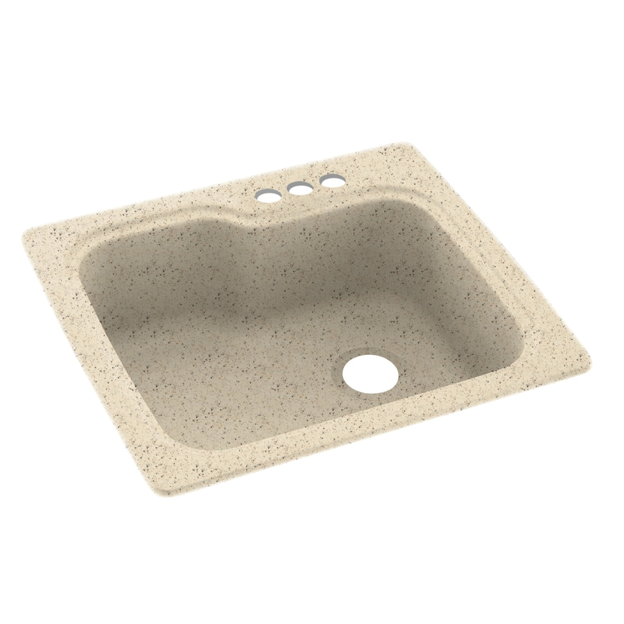 Swanstone 25-in x 22-in Tahiti Desert Single-Basin Composite Drop-In 3-Hole Residential Kitchen Sink