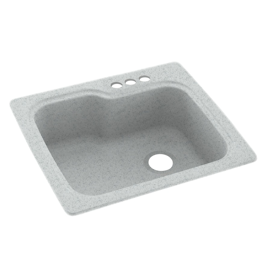 Swanstone 25-in x 22-in Tahiti Gray Single-Basin Composite Drop-in 3-Hole Residential Kitchen Sink