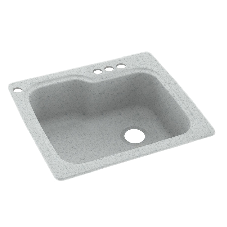 Swanstone 25-in x 22-in Tahiti Gray Single-Basin Composite Drop-in 4-Hole Residential Kitchen Sink
