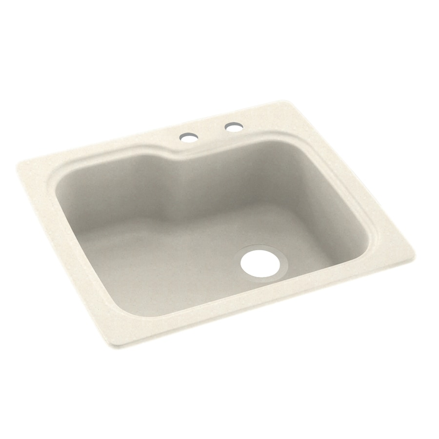 Swanstone 25-in x 22-in Pebble Single-Basin Composite Drop-In 2-Hole Residential Kitchen Sink