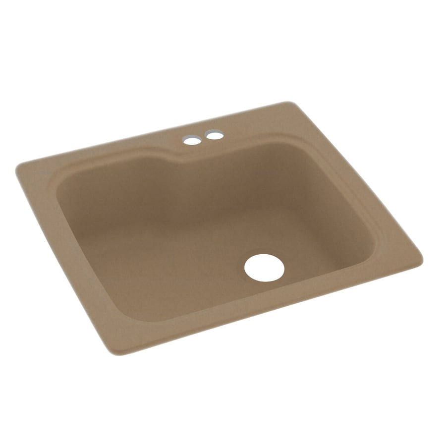 Swanstone 25-in x 22-in Barley Single-Basin Composite Drop-In 2-Hole Residential Kitchen Sink