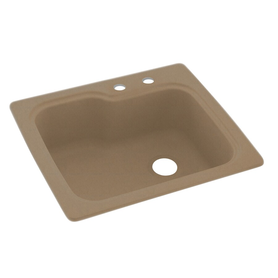 Swanstone 25.0000-in x 22.0000-in Barley Single-Basin Composite Drop-in 2-Hole Residential Kitchen Sink
