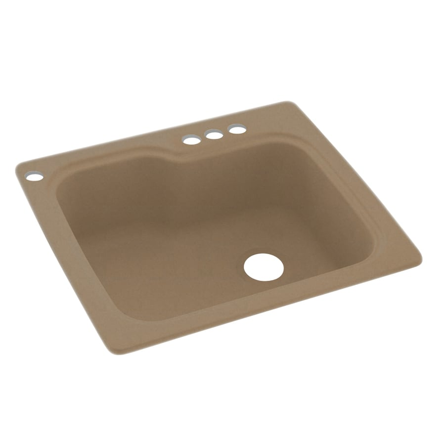 Swanstone 25-in x 22-in Barley Single-Basin Composite Drop-in 4-Hole Residential Kitchen Sink
