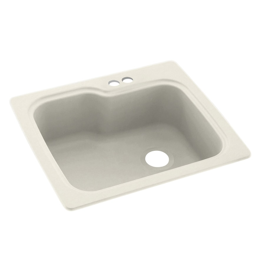 Swanstone 25-in x 22-in Glacier Single-Basin-Basin Composite Drop-in 2-Hole Residential Kitchen Sink