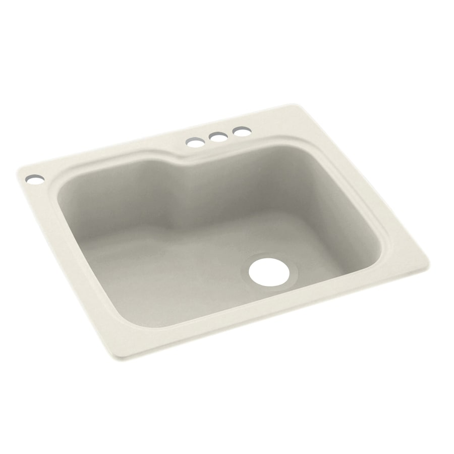 Swanstone 25-in x 22-in Glacier Single-Basin Composite Drop-In 4-Hole Residential Kitchen Sink