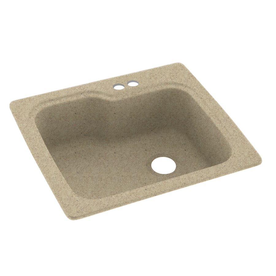 Swanstone 25-in x 22-in Prairie Single-Basin Composite Drop-in 2-Hole Residential Kitchen Sink