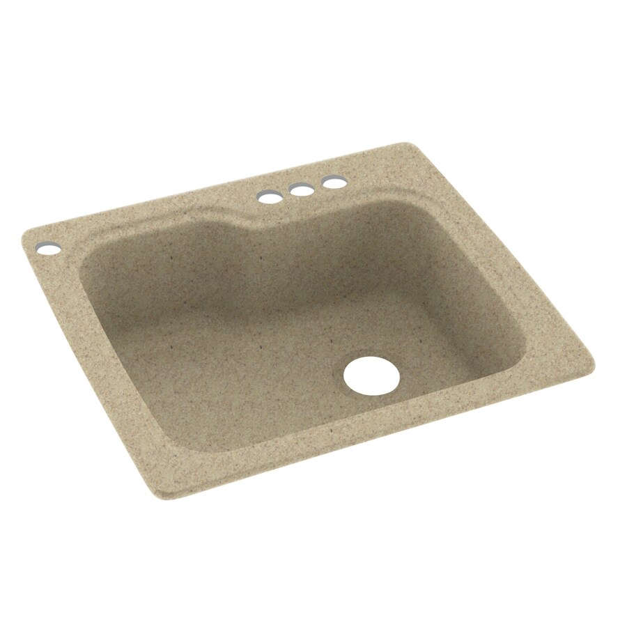 Swanstone 25-in x 22-in Prairie Single-Basin Composite Drop-In 4-Hole Residential Kitchen Sink