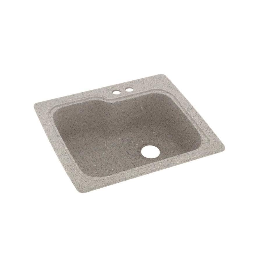 Swanstone 25-in x 22-in Canyon Single-Basin Composite Drop-in 2-Hole Residential Kitchen Sink