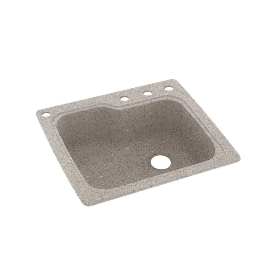 Swanstone 25-in x 22-in Canyon Single-Basin Composite Drop-in 4-Hole Residential Kitchen Sink