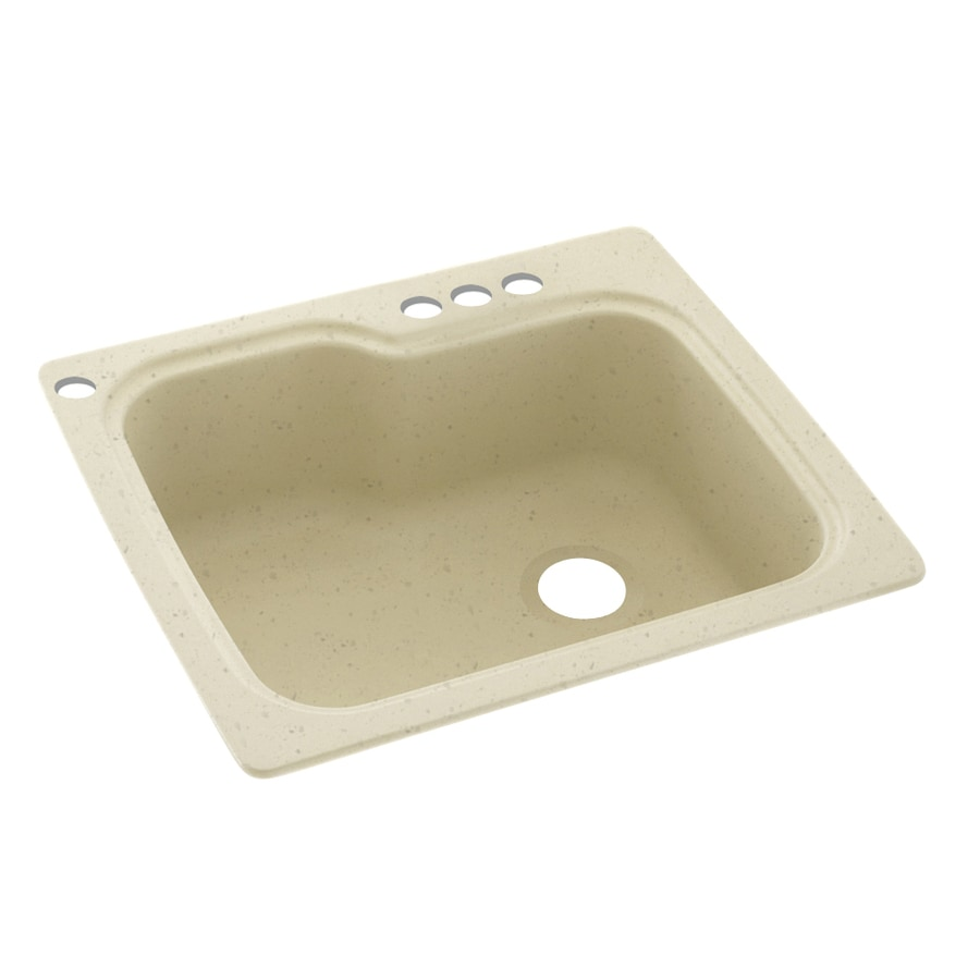 Swanstone 25-in x 22-in Caraway Seed Single-Basin Composite Drop-In 4-Hole Residential Kitchen Sink