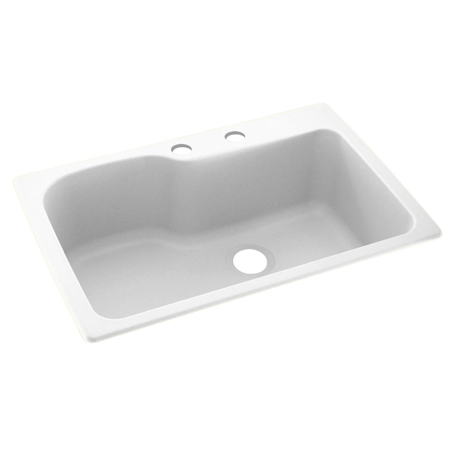 Swanstone 33-in x 22-in White Single-Basin Composite Drop-In 2-Hole Residential Kitchen Sink