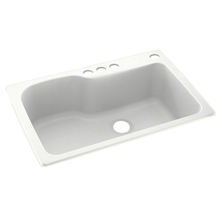 Swanstone 33-in x 22-in Tahiti White Single-Basin Composite Drop-in 4-Hole Residential Kitchen Sink