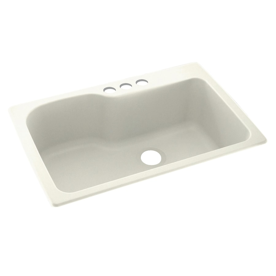 Swanstone 33-in x 22-in Bisque Single-Basin Composite Drop-in 3-Hole Residential Kitchen Sink