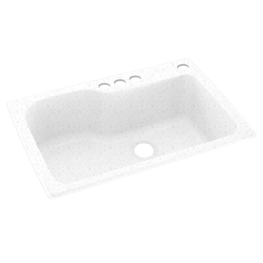 Swanstone 33-in x 22-in Arctic Granite Single-Basin Composite Drop-in 4-Hole Residential Kitchen Sink