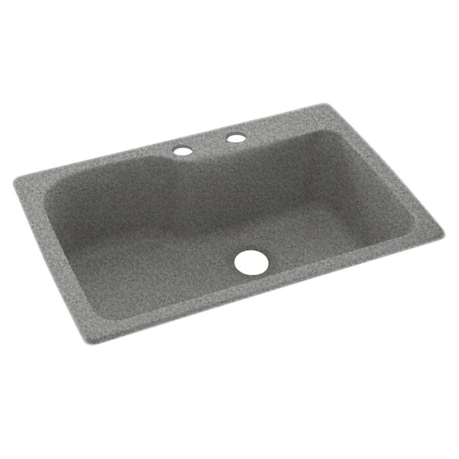 Swanstone 33-in x 22-in Gray Granite Single-Basin Composite Drop-In 2-Hole Residential Kitchen Sink