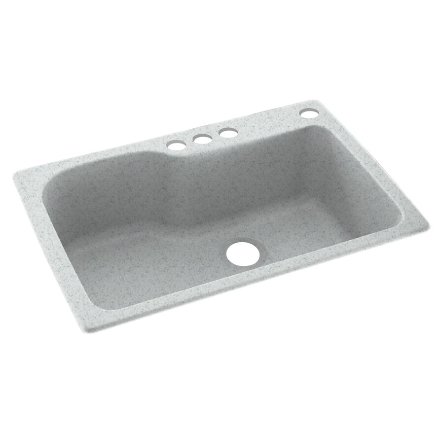 Swanstone 33-in x 22-in Tahiti Gray Single-Basin Composite Drop-In 4-Hole Residential Kitchen Sink