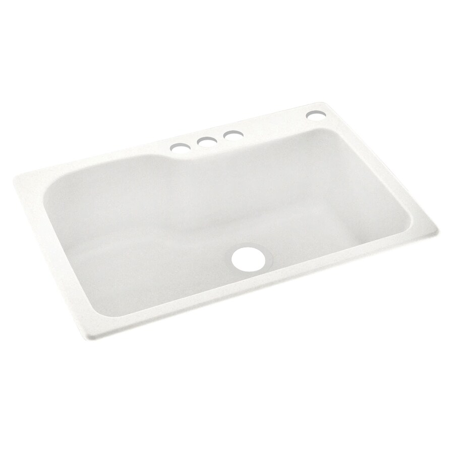 Swanstone 33-in x 22-in Tahiti Ivory Single-Basin Composite Drop-In 4-Hole Residential Kitchen Sink