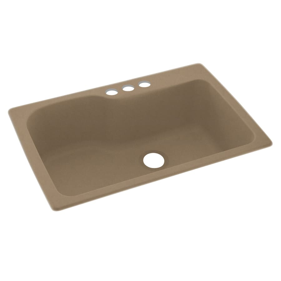 Swanstone 33-in x 22-in Barley Single-Basin Composite Drop-In 3-Hole Residential Kitchen Sink