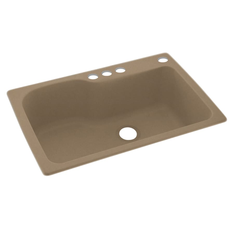 Swanstone 33-in x 22-in Barley Single-Basin Composite Drop-in 4-Hole Residential Kitchen Sink