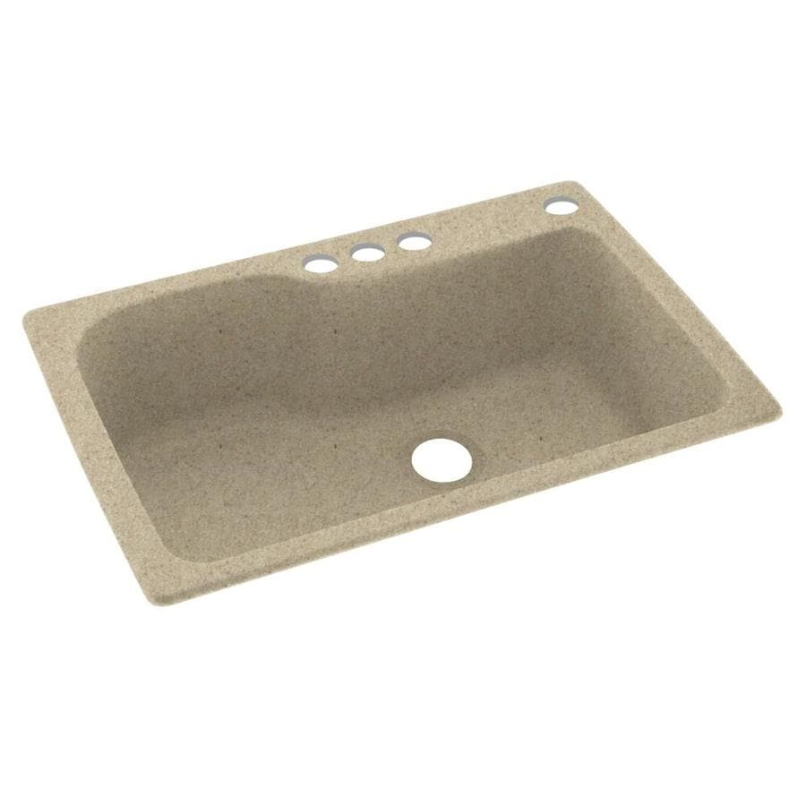 Swanstone 33-in x 22-in Prairie Single-Basin Composite Drop-in 4-Hole Residential Kitchen Sink