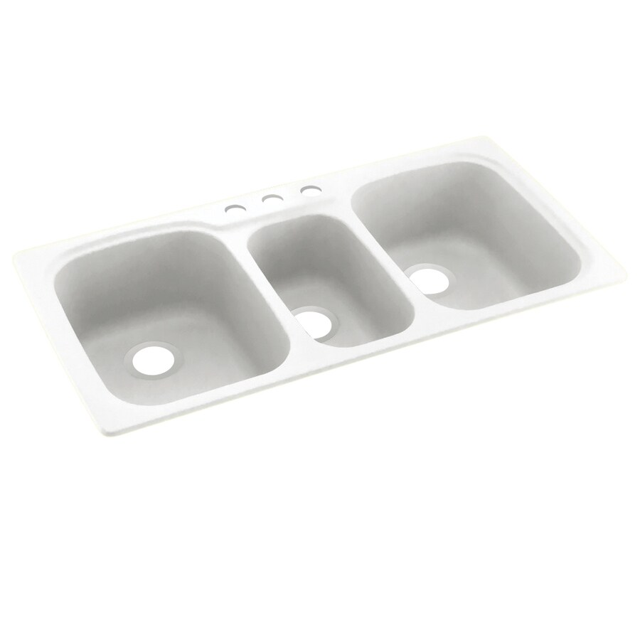 Swanstone 44-in x 22-in White Triple-Basin Composite Drop-In 3-Hole Residential Kitchen Sink