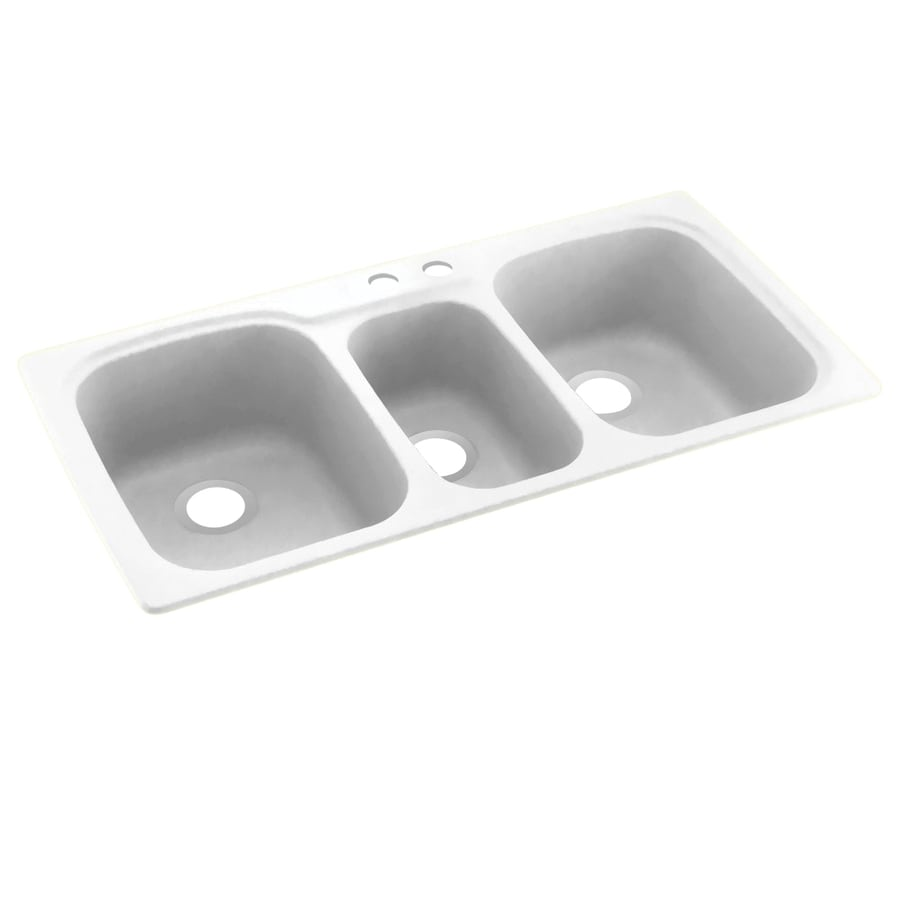 Swanstone 44.0000-in x 22.0000-in Tahiti White Triple-Basin Composite Drop-in 2-Hole Residential Kitchen Sink