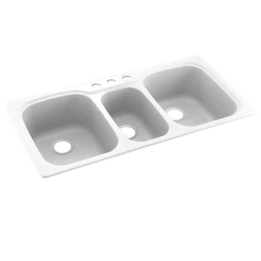 Swanstone 44.0000-in x 22.0000-in Tahiti White Triple-Basin Composite Drop-in 3-Hole Residential Kitchen Sink