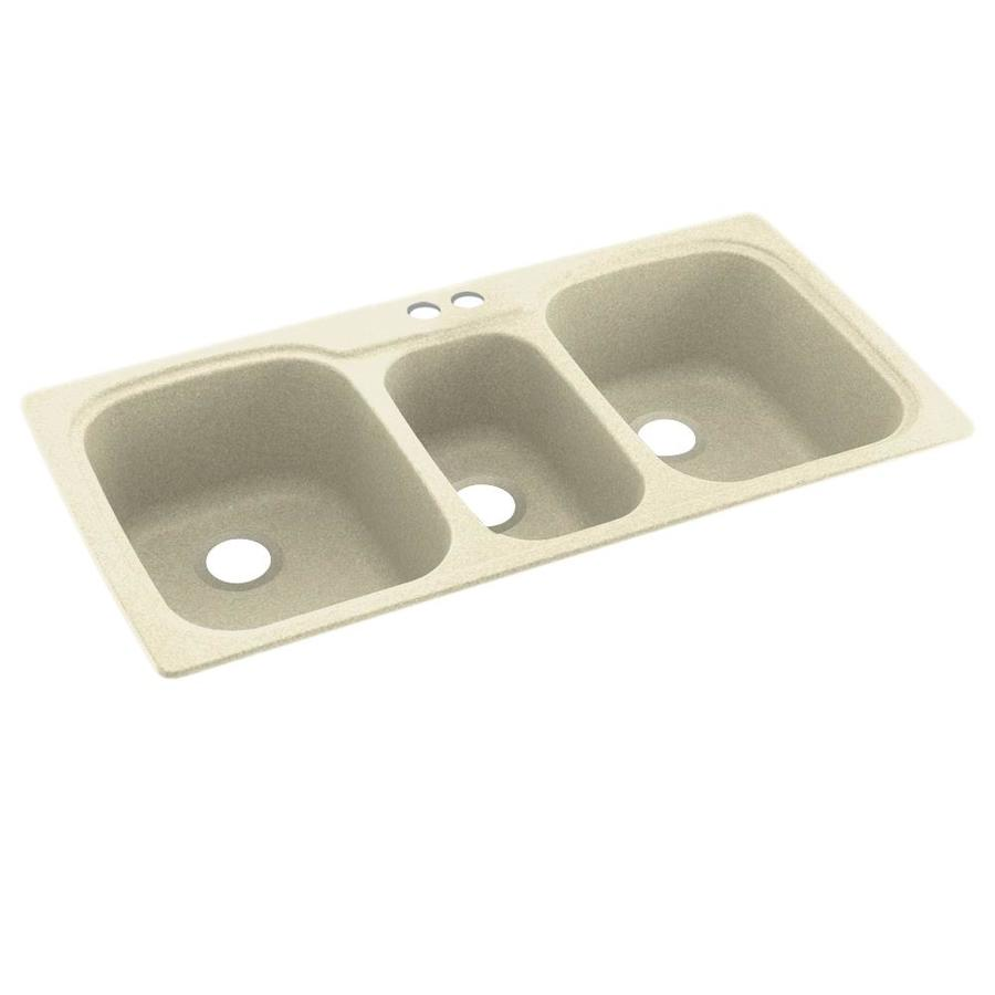Swanstone 44-in x 22-in Bone Triple-Basin Composite Drop-in 2-Hole Residential Kitchen Sink