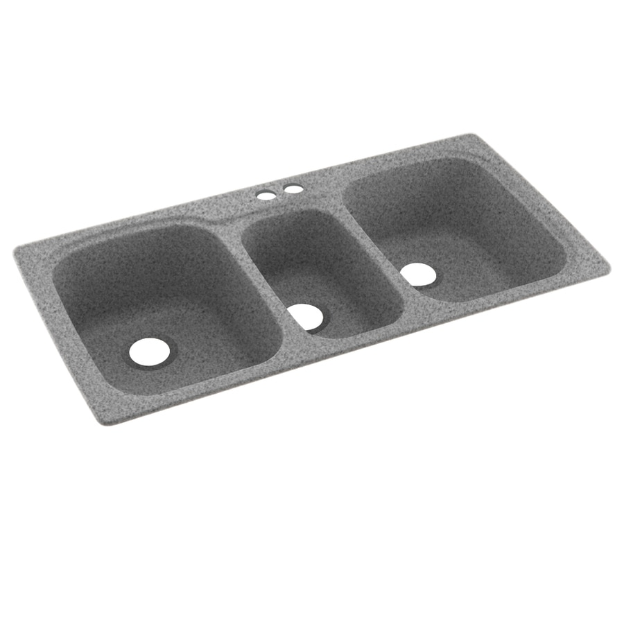 Swanstone 44-in x 22-in Gray Granite Triple-Basin Composite Drop-in 2-Hole Residential Kitchen Sink