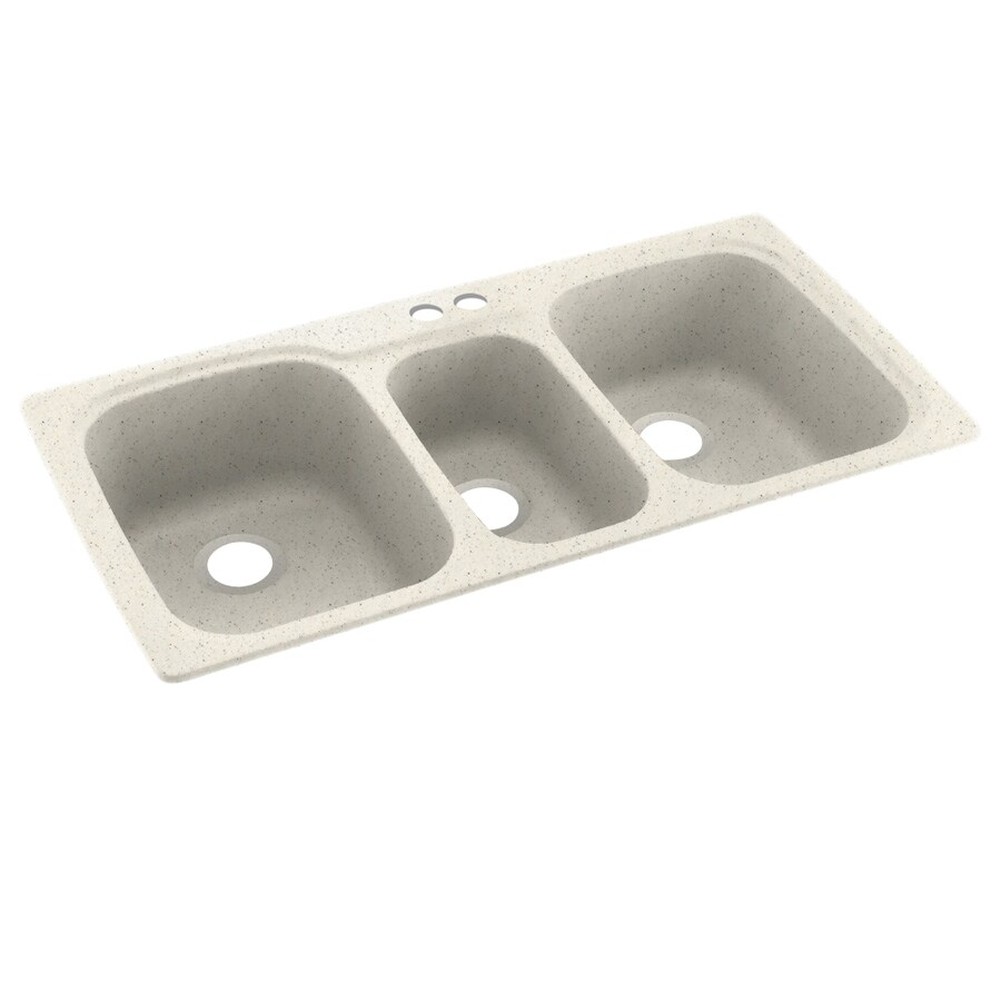 Swanstone 44.0000-in x 22.0000-in Tahiti Matrix Triple-Basin Composite Drop-in 2-Hole Residential Kitchen Sink