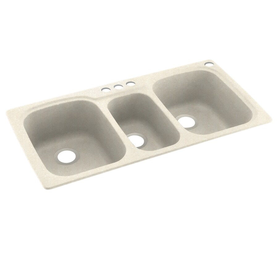 Swanstone 44-in x 22-in Pebble Triple-Basin Composite Drop-In 4-Hole Residential Kitchen Sink