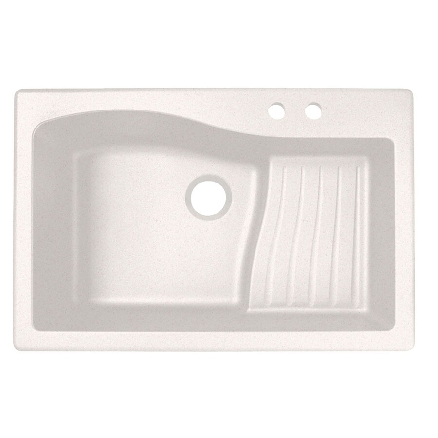 Swanstone 22-in x 33-in Bianca Single-Basin Granite Drop-in or Undermount 2-Hole Residential Kitchen Sink Drainboard Included