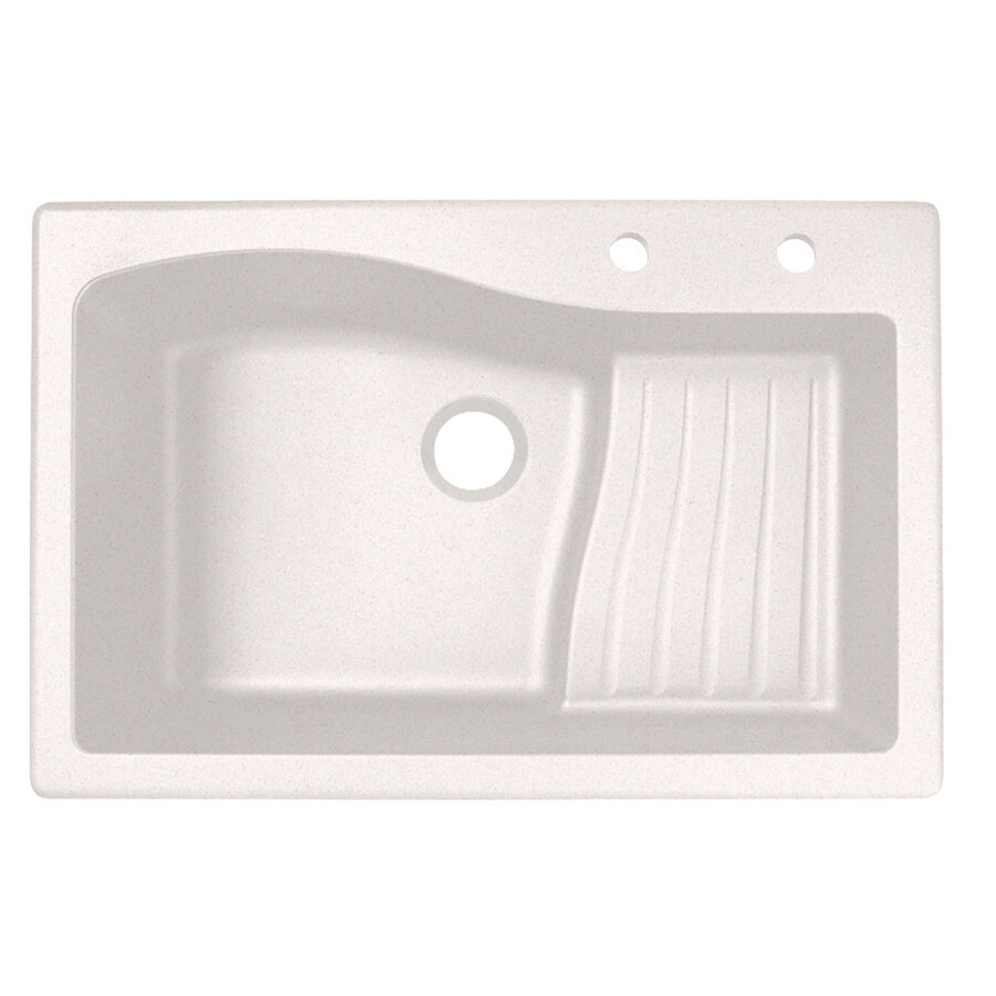 Swanstone 33-in x 22-in Bianca Single-Basin Granite Drop-In 2-Hole Residential Kitchen Sink with Drainboard