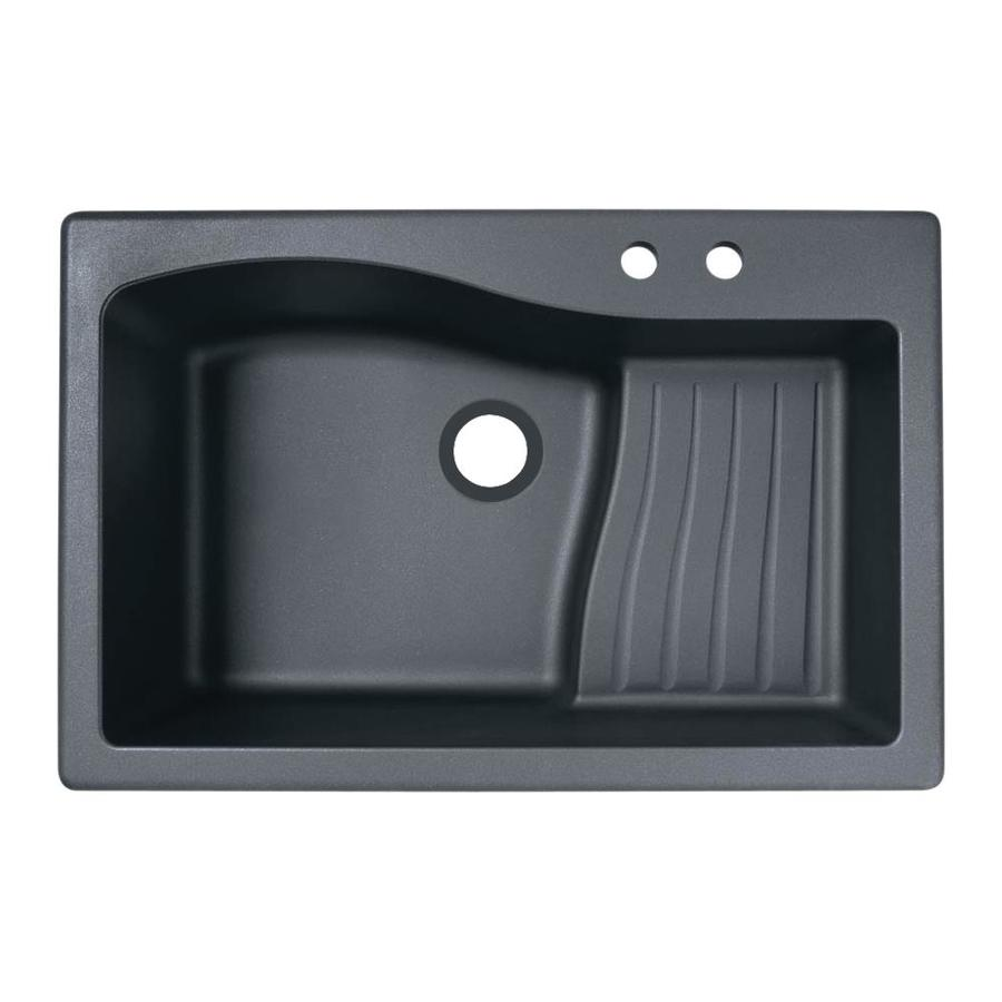 Swanstone 22-in x 33-in Nero Single-Basin Granite Drop-in or Undermount 2-Hole Residential Kitchen Sink Drainboard Included