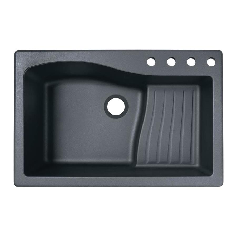 Swanstone 33-in x 22-in Nero Single-Basin Granite Drop-In 4-Hole Residential Kitchen Sink with Drainboard