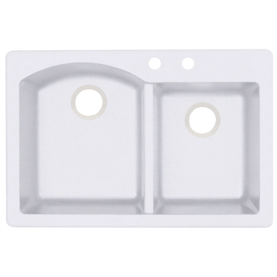 Swanstone 33.0000-in x 22.0000-in Bianca Double-Basin Granite Drop-in or Undermount 2-Hole Residential Kitchen Sink