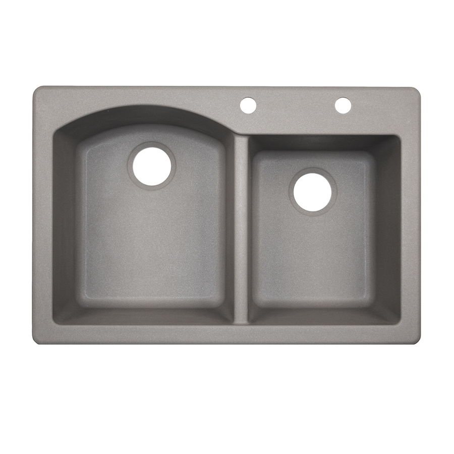 Swanstone 33-in x 22-in Metallico Double-Basin Granite Drop-In 2-Hole Residential Kitchen Sink