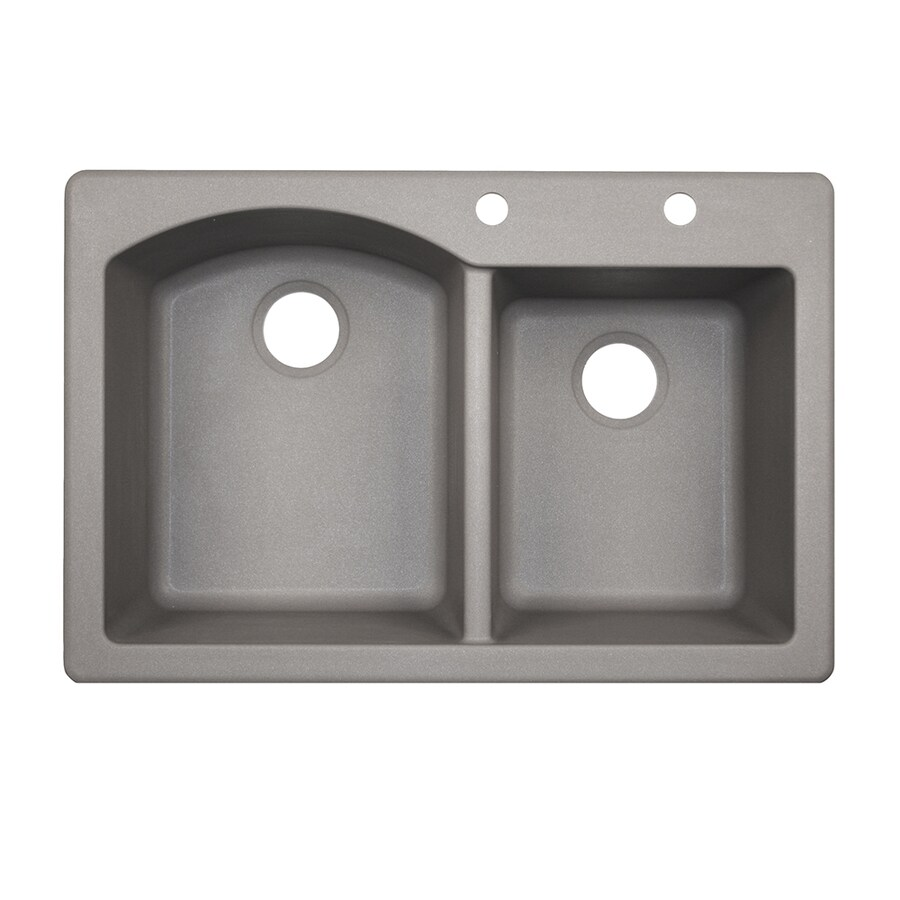 Swanstone 33.0000-in x 22.0000-in Metallico Double-Basin Granite Drop-in or Undermount 2-Hole Residential Kitchen Sink
