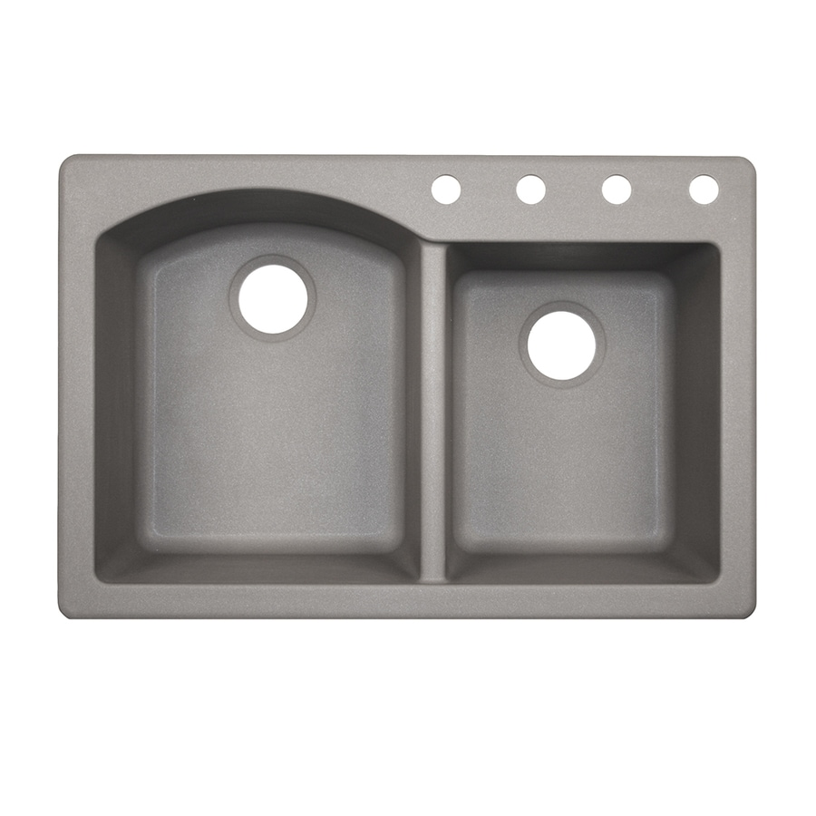 Swanstone 33-in x 22-in Metallico Double-Basin Granite Drop-In 4-Hole Residential Kitchen Sink