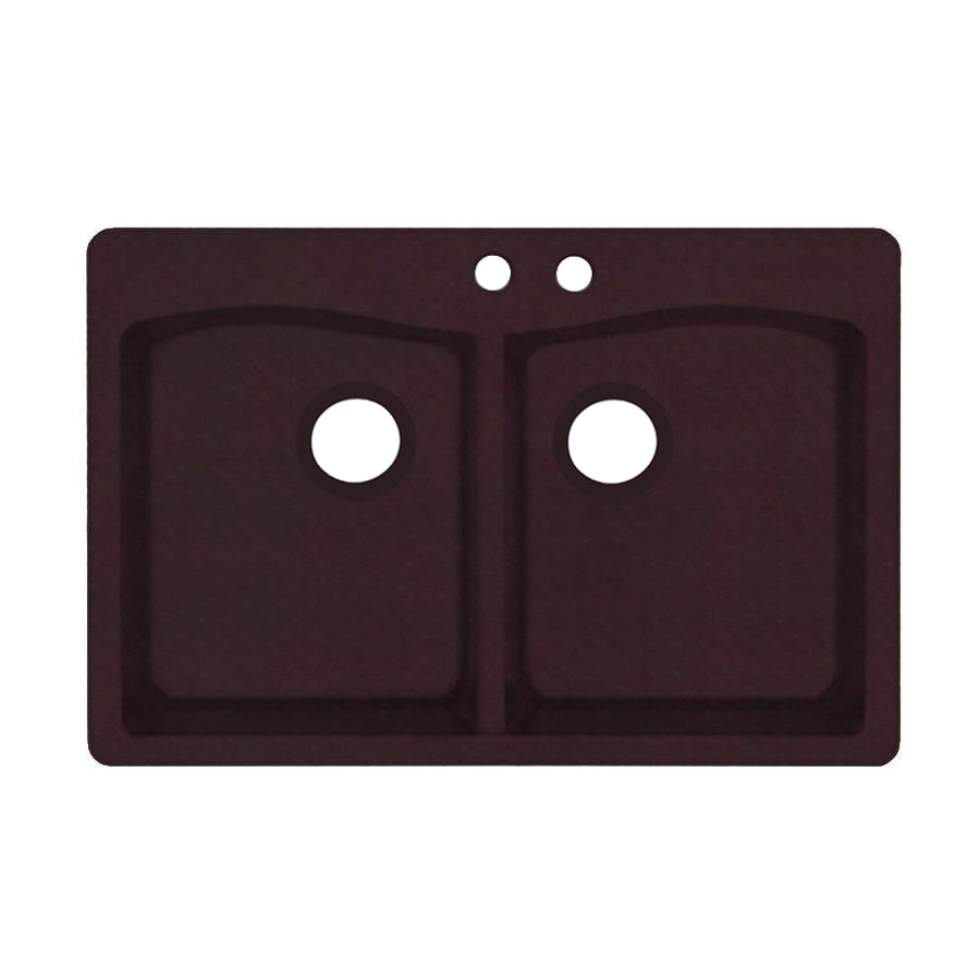 Swanstone 33.0000-in x 22.0000-in Espresso Double-Basin Granite Drop-in or Undermount 2-Hole Residential Kitchen Sink