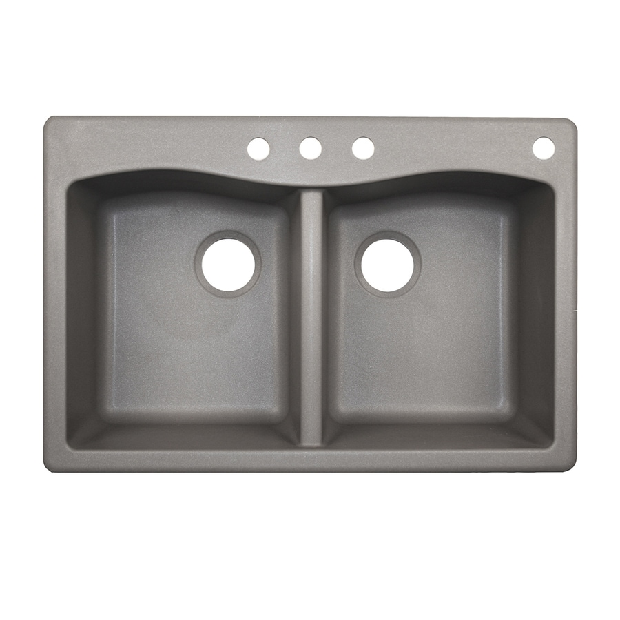 Swanstone 33.0000-in x 22.0000-in Metallico Double-Basin Granite Drop-in or Undermount 4-Hole Residential Kitchen Sink