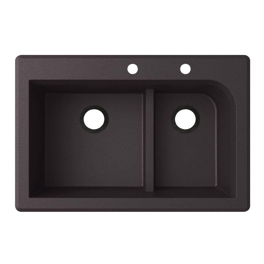 Swanstone 22-in x 33-in Nero Double-Basin Granite Drop-in or Undermount 2-Hole Residential Kitchen Sink