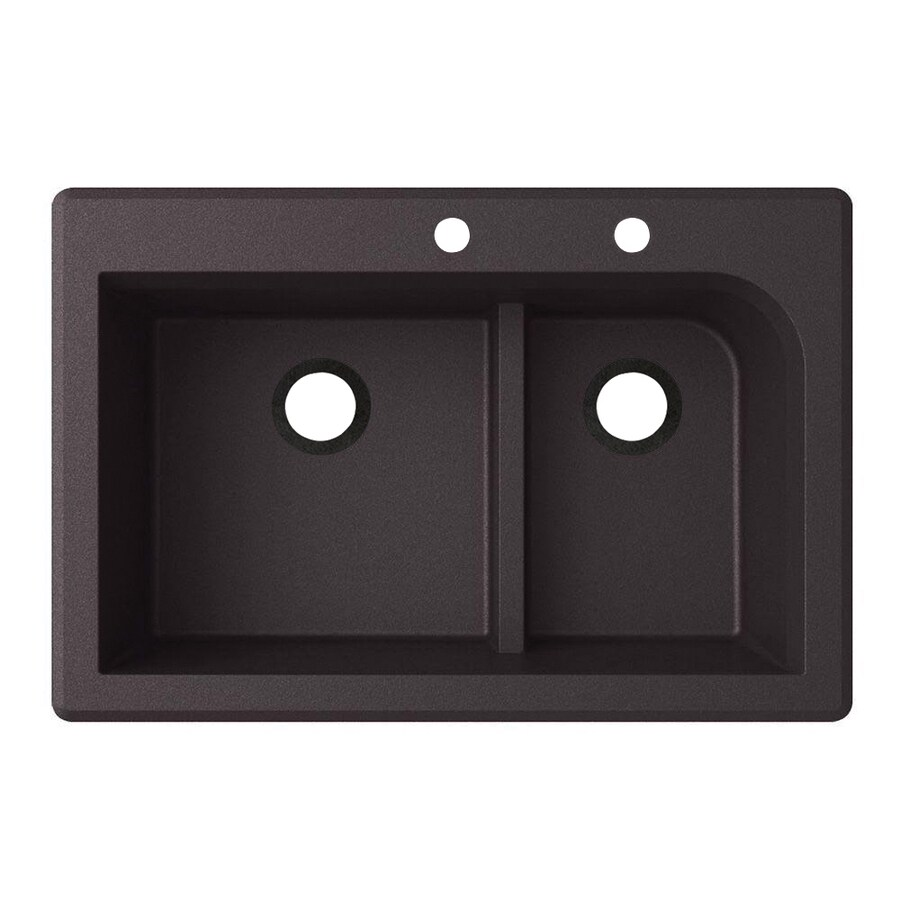 Swanstone 22-in x 33-in Nero Single-Basin-Basin Granite Drop-in or Undermount 2-Hole Residential Kitchen Sink