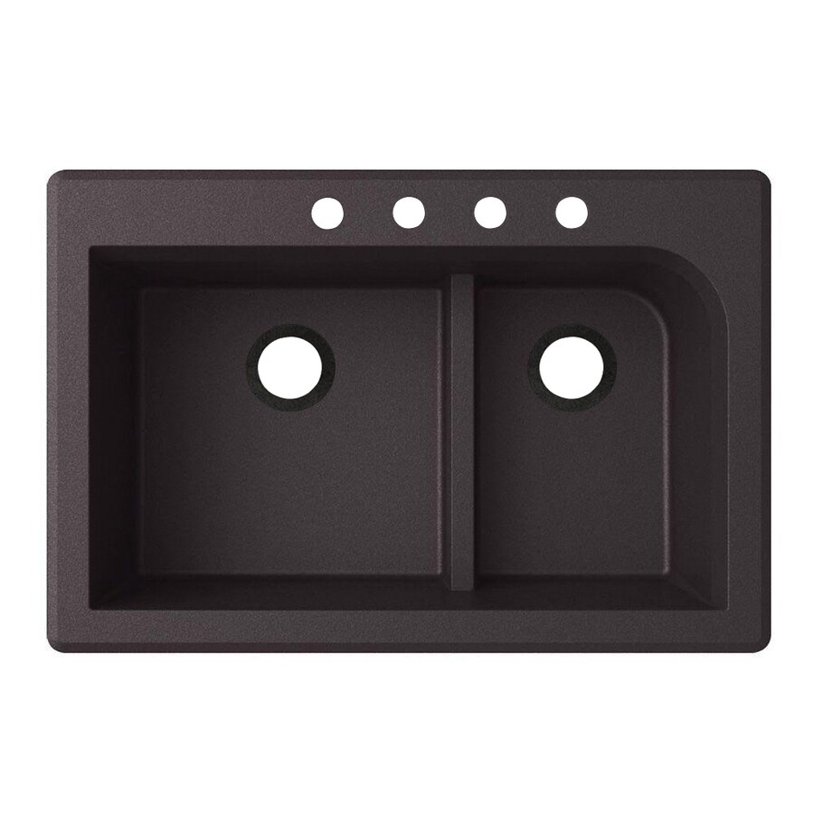 Swanstone 33-in x 22-in Nero Double-Basin Granite Drop-In Or Undermount 4-Hole Residential Kitchen Sink
