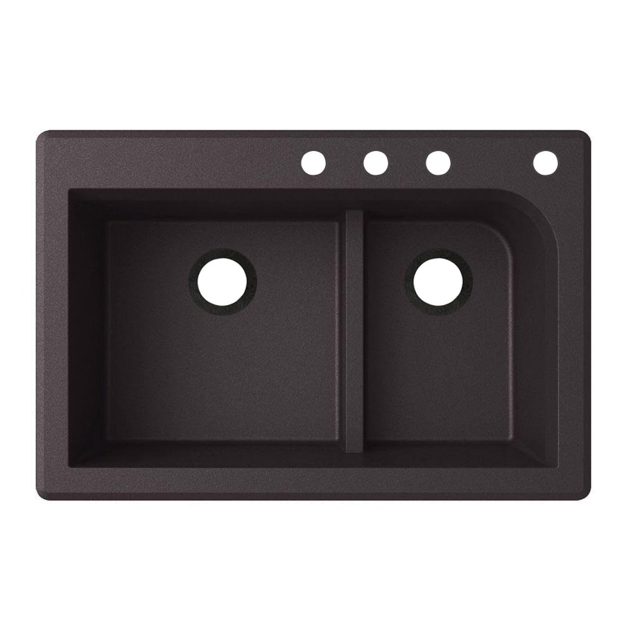Swanstone 33-in x 22-in Nero Double-Basin Granite Drop-In 4-Hole Residential Kitchen Sink