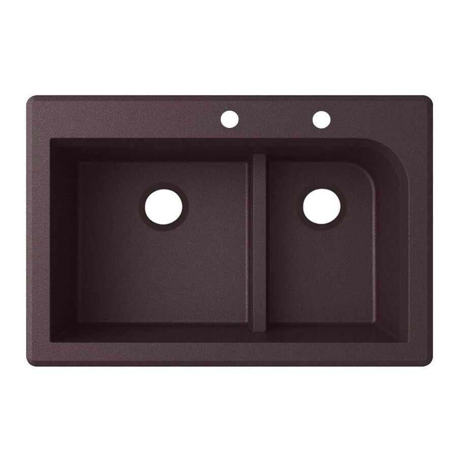 Swanstone 33.0000-in x 22.0000-in Espresso Double-Basin Granite Drop-in or Undermount 2-Hole Residential Kitchen Sink