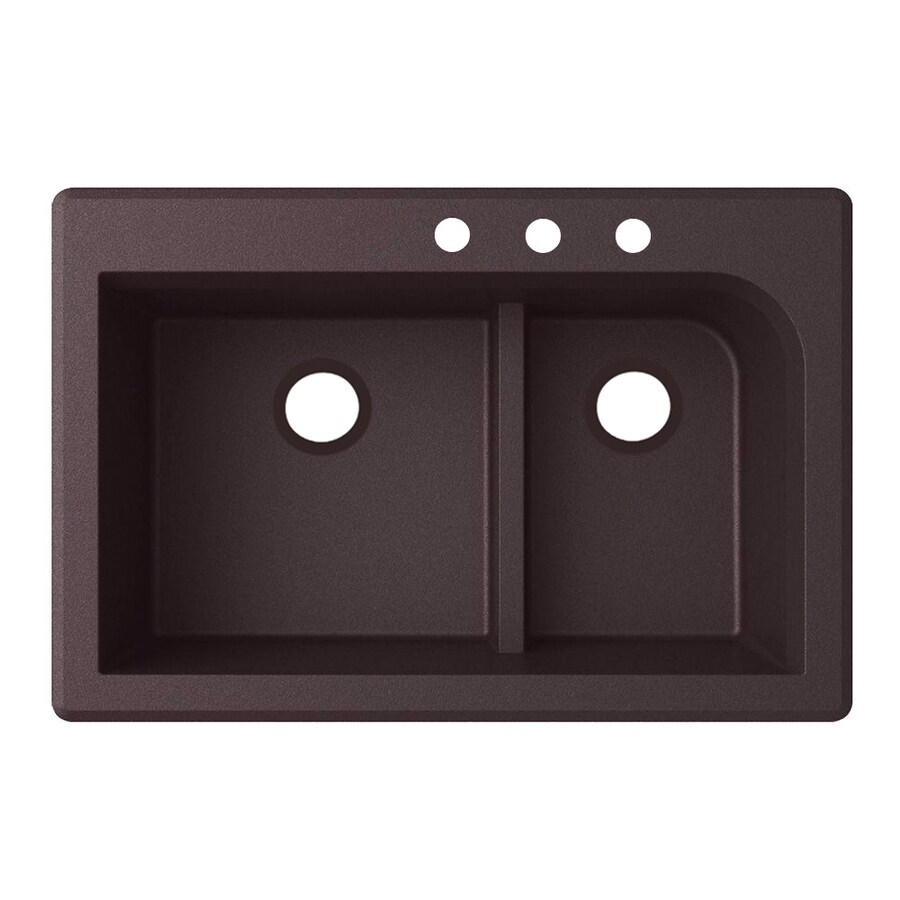 Swanstone 33-in x 22-in Espresso Double-Basin Granite Drop-In 3-Hole Residential Kitchen Sink