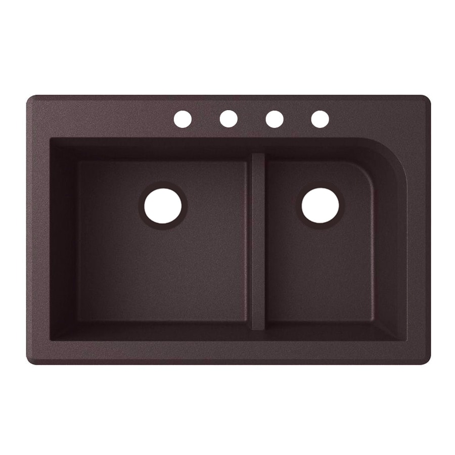Swanstone 33-in x 22-in Espresso Double-Basin Granite Drop-In 4-Hole Residential Kitchen Sink